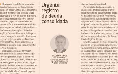 Columna de nuestro Presidente, Rodrigo Silva en Diario Financiero: Urgente: registro de deuda consolidada
