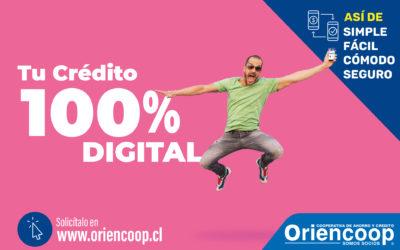 """Oriencoop lanzó """"Tu crédito 100% digital"""""""
